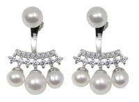 Cluster White Pearl Drop Sterling Silver Earrings