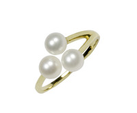 18ct Yellow Gold Triple White Pearl Adjustable Ring