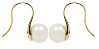 White Akoya Pearl Earrings in 18ct Yellow Gold