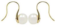 White Akoya Pearl Earrings in 18ct Yellow Gold