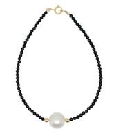 White Pearl and Black Onyx Beads Bracelet