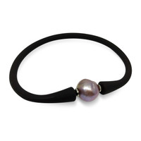 Lustrous Rainbow 'Violet Purple' Baroque Pearl on Leatherette Bracelet