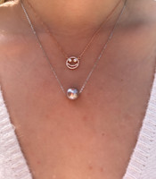 Lustrous Rainbow Floating Baroque Pearl Pendant Necklace, Sterling Silver