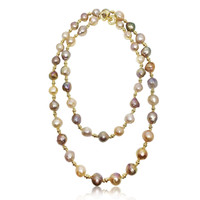 Lustrous Rainbow Baroque Pearl Long Necklace