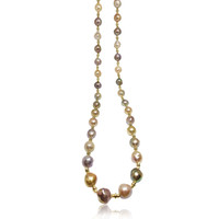 Lustrous Rainbow Baroque Pearl Long Necklace2