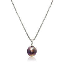 Lustrous Rainbow Violet Purple Baroque Pearl Pendant Sterling Silver Long Chain Necklace 2