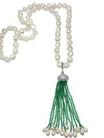 White Pearl Long Necklace with Green Emerald Tassels2