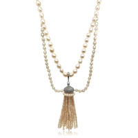 Peach Pearl Long Necklace with Detachable  Multifaceted Crystal Tassel2