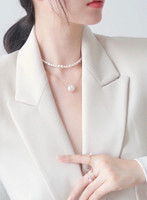 White Coin Pearl Floating Pendant Gold Necklace, Yellow Gold