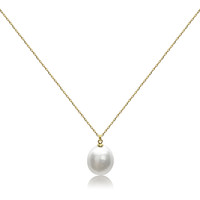 White Coin Pearl Pendant on 18ct Yellow Gold Sterling Silver Chain