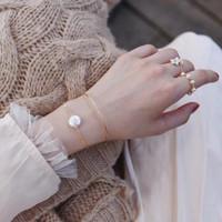 White Coin Pearl Floating Gold Bracelet, Gold Vermeil