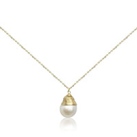 White Baroque Pearl Gold Filled Wire Wrapped Pendant