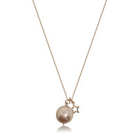 Lustrous Rose Pearl Pendant with Star Charm, Rose Gold