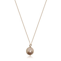Lustrous Rose Pearl on Rose Gold Pendant