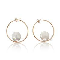 White Coin Pearls Hoop Earrings, Rose Gold