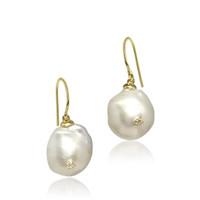 White Baroque Pearl Drop Earrings Studded with Zirconia