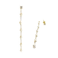 Long Drop Pearl Earrings with Cubic Zirconia Studs