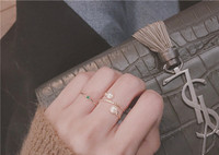 Dual Pearl Ring, Yellow Gold