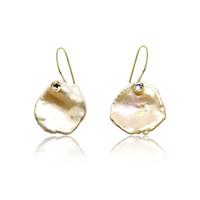 Pink Keshi Petal Pearl Drop Earrings with CZ, Yellow Gold