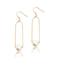 White Pearl on Paper Clip Earrings, Rose Gold