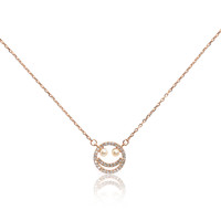 Smiley Emoji Pearl Pendant, Rose Gold
