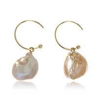 Pink Keshi Pearl Drop Earrings Studded with CZ on C Hook, Yellow Gold