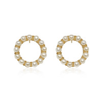 'Circle of Life' White Pearl Hoop Earrings, Yellow Gold