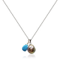 Lustrous Rainbow Baroque Pearl Pendant with Turquoise Droplet