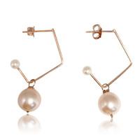 Pink Pearl Music Note Drop Earrings, Rose Gold