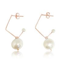 White Pearl Music Note Hoop Drop Earrings, Rose Gold