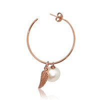white pearl hoop earrings with rose gold angel feather charm