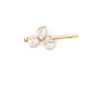 Hand Woven White Keshi Pearls Hair Clip, Gold