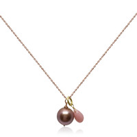 Lustrous Rose Single Pearl Pendant with Rose Quartz
