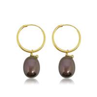 Black peacock pearl with zirconia hoops earrings2