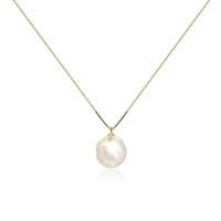 White Baroque Pearl Pendant, Yellow Gold