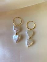 Double Heart Pearl Gold Huggie Hoops Drop Earrings