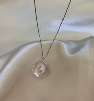 White Keshi Pearl Studded with Zirconia Pendant, Sterling Silver