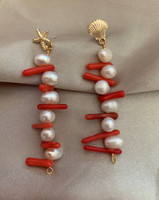 Pearl and Coral Long Drop Earrings