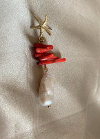 Coral and Baroque Pearl Drop Earrings