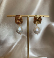 Audrey Large Baroque Pearl Textured Gold Earrings