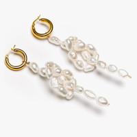 Sofia Large Baroque Pearl Bow Hoops Earring