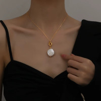 Large Single Pearl Gold Chain Necklace