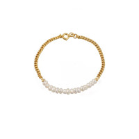 Kylie Pearl Gold Chain Bracelet