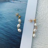 Mila Three Baroque Pearl Drop Earrings