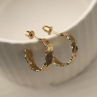 Hammered Chunky Gold Hoops, Small & Large