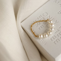 5 Dainty Pearl Soft Chain Ring