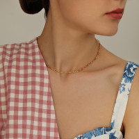 Large Rectangle Link Chain Choker Necklace