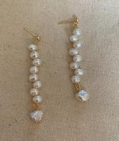 Ana Oval & Keshi Pearl Drop Earrings