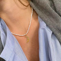 Dainty Pearl Choker Necklace with Crescent Pendant