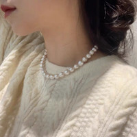 Mira White Baroque Pearl Choker Necklace, Gold Filled